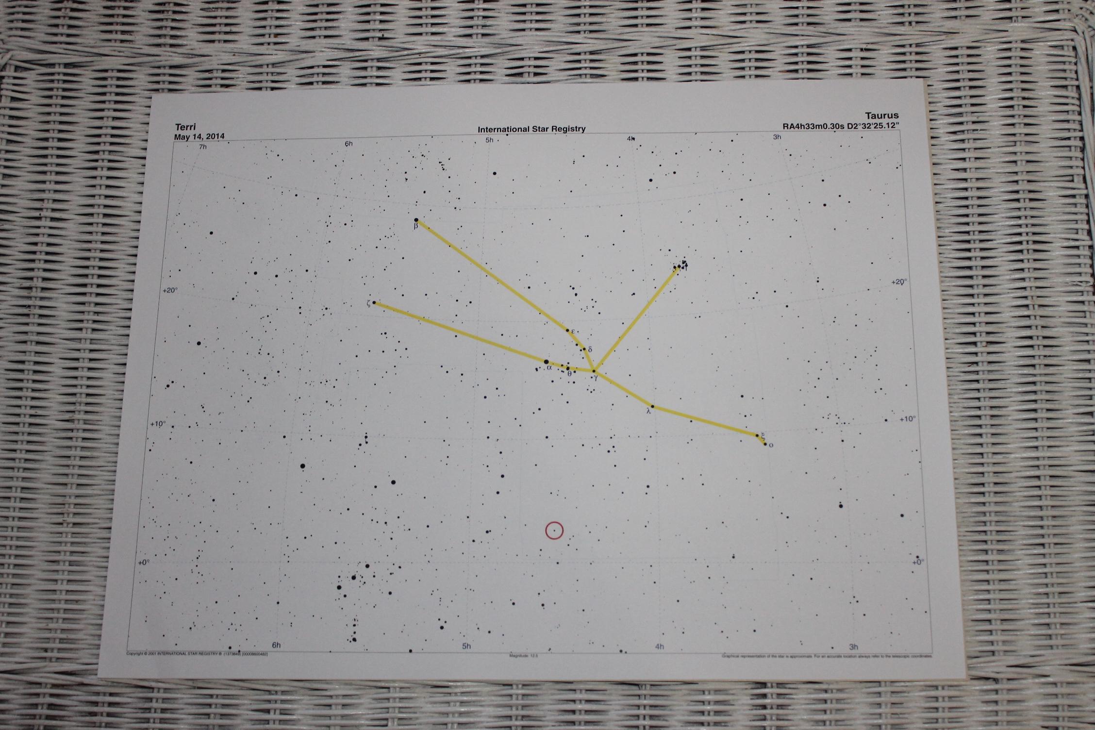 Star Registry certificate