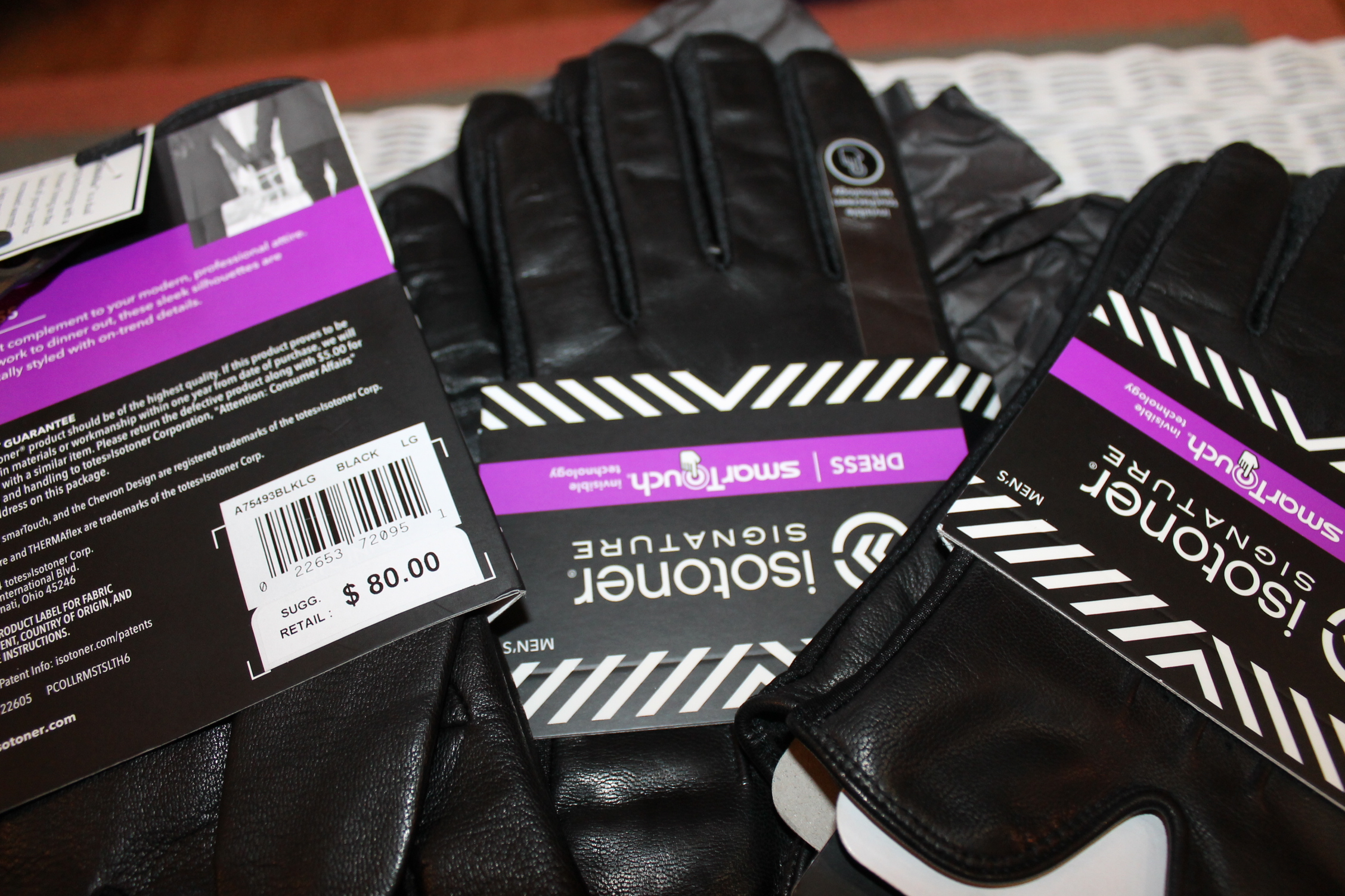 Mens gloves isotoner - Isotoner Signature Men S Palm Vented Leather Gloves Thermaflex Lined