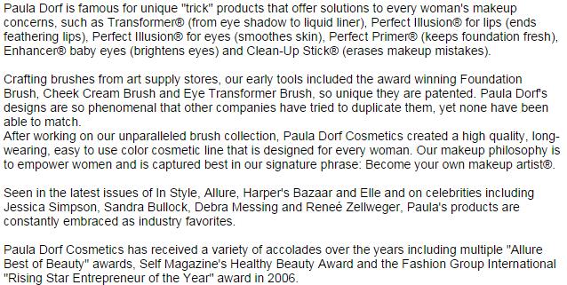 Paula Dorf Cosmetics
