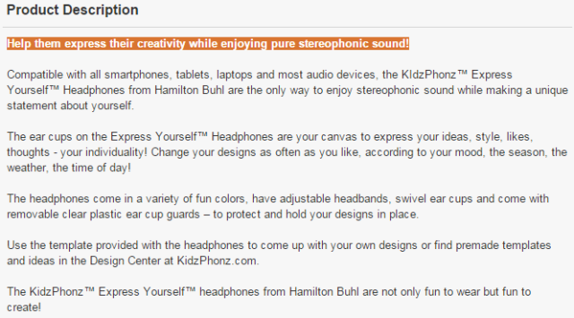 the KIdzPhonz™ Express Yourself™ Headphones from Hamilton Buhl