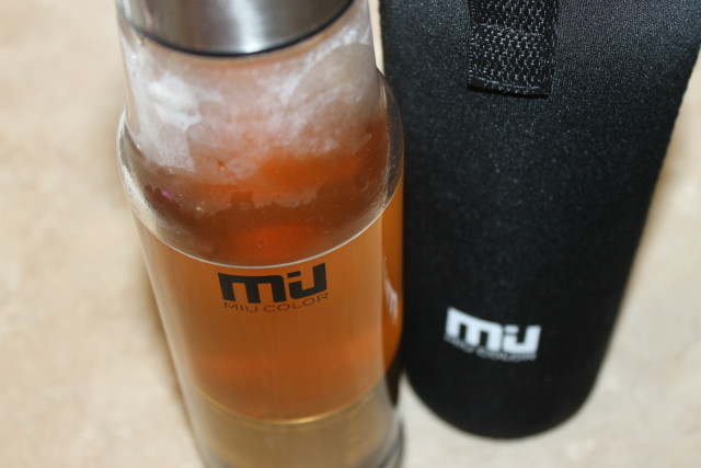 #miucolor MIU COLOR® Stylish Portable Handmade Crystal Glass Water Bottle with Nylon Sleeve