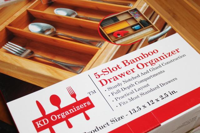 #lakehouse KD Organizers™ 5-Slot Bamboo Drawer Organizer Review
