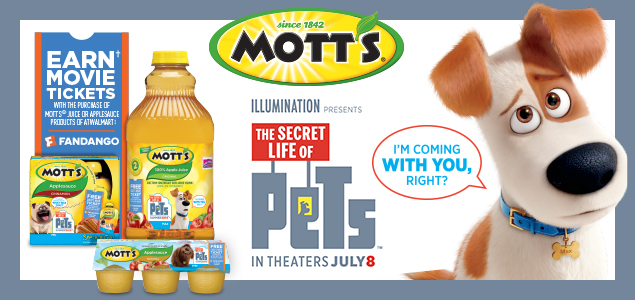 Mott's, The Secret Life of Pets, in theaters, July 8 #MottsMovieBonus #ad