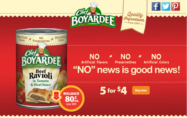 Deal! Chef Boyardee on Rollback at Walmart