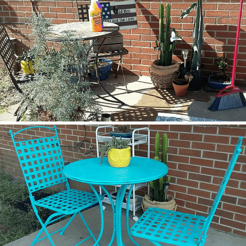 From drab to fab. D.I.Y. Bistro Table & Porch Refresh with Mean Green.