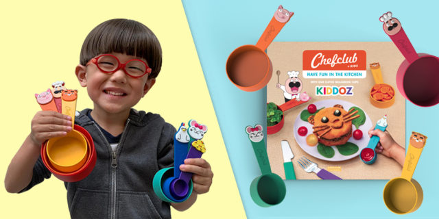 Kiddoz by Chefclub is a brand new cooking kit made specifically for kids to cook nutritious meals that are almost error-proof. The kit comes with 6 cute character-themed measuring cups, and a cookbook filled with 20 illustrated recipes that use a never before seen language of images and characters. Kiddoz is a healthy way to bring the whole family together while saving you both time and money. Kiddoz is available via Kickstarter #CookWithKiddoz #Kiddoz #Chefclub